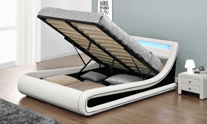 lit coffre led simili cuir groupon. Black Bedroom Furniture Sets. Home Design Ideas