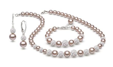 129,99 zł zamiast 1199 zł: 3-częściowy zestaw biżuterii Coccola ze stopniowanych pereł almond i kryształów