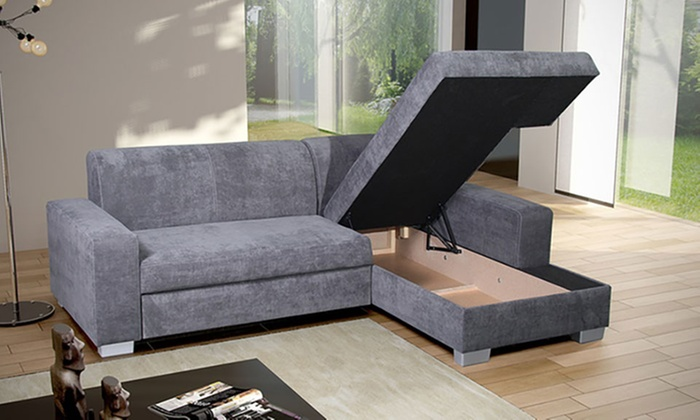 Corner Suede Storage Sofa | Groupon Goods