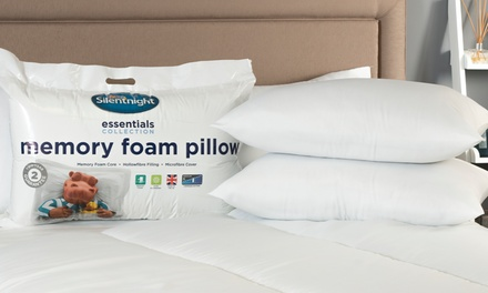 One, Two or Four Silentnight Essential Memory Foam Core Pillows