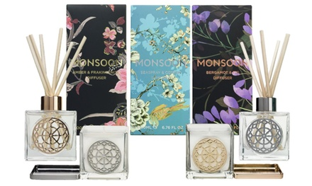 One, Two or Four Monsoon Home Scented Candles and Diffusers