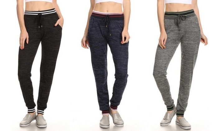 Women's Jogger Pants with Pockets (3-Pack) (Size L)