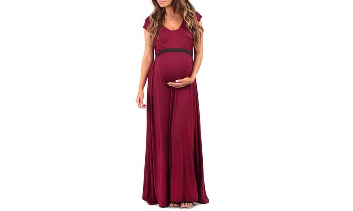 fbcf3b35fa8da Womens Maternity Maxi Dress with Tummy Band Support: Burgundy - Extra Large
