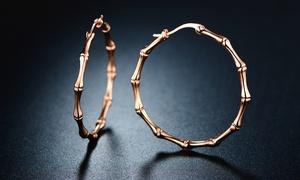 18K Rose Gold Plated Bamboo Hoop Earrings by EUPHIR