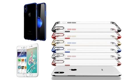 Carcasa y 2 protectores de pantalla para iPhone