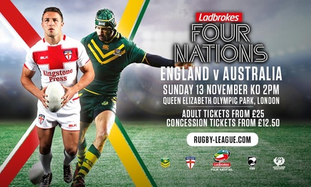 The 2016 Four Nations: England v Australia, 13 November, Queen Elizabeth Olympic Park (Up to 20% Off*)