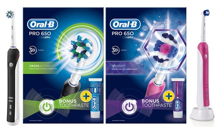 OralB Pro 650 Cross Action or 650 3DWhite Electric Toothbrush with Toothpaste