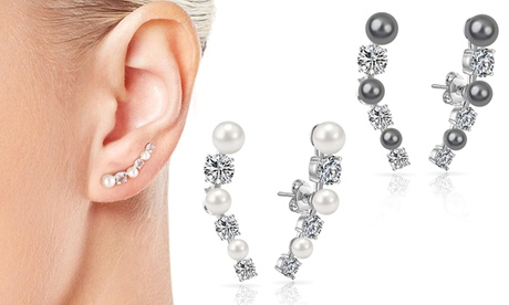 1, 2 ou 2 paires de boucles d'oreilles plaqué argent ornées de cristaux Swarovski® Philip Jones