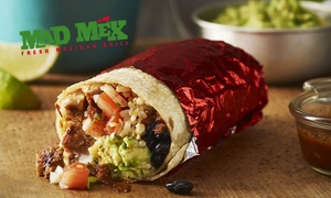 Mad Mex - Hay Street: Burrito with Tortilla Chips + Salsa Dip and Soft Drink for 1 at Mad Mex, Hay Street (Up to $18.90 Value)