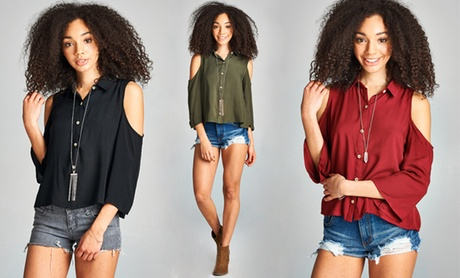 Cold Shoulder Women's  Button-Down Shirt