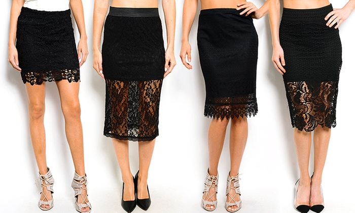 Black Lace Pencil Skirts | Groupon Goods