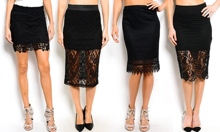 Paisley Knee-Length, Scalloped Hem, or Crochet Mini Black Lace Pencil Skirts