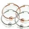 Sterling Silver Round Bead Hoop Earrings