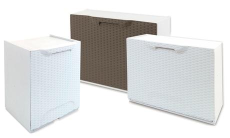 Image of 1, 2 o 3 scarpiere o porta-cestino Artplast in polipropilene con finitura in rattan disponibili in 2 colori