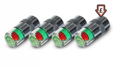 Four or Eight 36 PSI Tyre Pressure Valve Caps LED Indicators