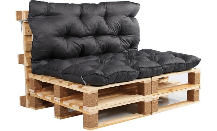 Palettenkissen mit Sitz- und Rückenteil, 120 x 140 cm und 10 cm dick in der Farbe nach Wahl