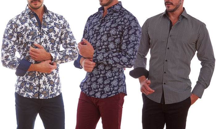 Azaro Uomo Men's Printed Button-Down Shirts | Groupon