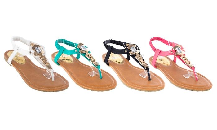 Women's Strappy Flat Thong Sandles: Women's Strappy Flat Thong Sandles