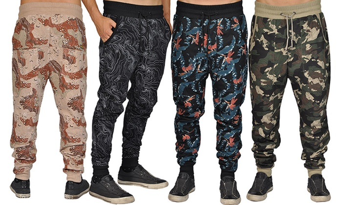 ARSNL Men's Printed Elastic-Waistband Joggers with Pockets
