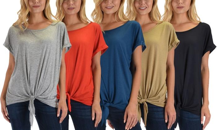 b691c1ae6b8 Up To 49% Off on Lyss Loo Women's Tie-Front Top   Groupon Goods