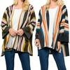 Acting Pro Women's Striped Long Bell-Sleeves Kimono
