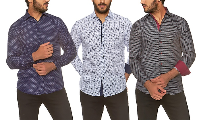 Azaro Uomo Men's Slim Fit Button Down Shirts