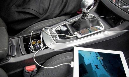 Cargador de coche compacto con auriculares manos libres