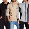 Men's Zippered or Pull-On Hoodie Sweatshirt with Pockets