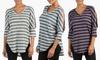 Sociology Women's V-Neck Striped Hacci Sweater Tunic: Sociology Women's V-Neck Striped Hacci Sweater Tunic