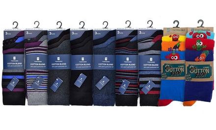 Pak van 3, 6 of 9 luxe sokken voor mannen met streep of fruitpatroon