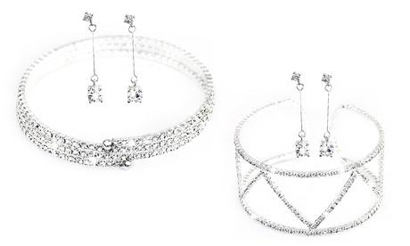 1 o 2 sets de brazalete y pendientes adornados con cristales