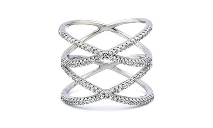Diamond Accent Double X Ring in 18K White Gold Plated Brass