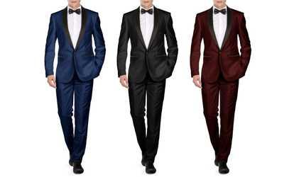 Groupon Braveman Men S Slim Fit Shawl Lapel Runway Tuxedo With Free Bow Tie