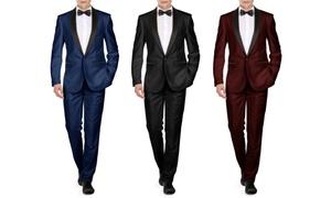 Braveman Men's Slim Fit Shawl-Lapel Runway Tuxedo with Free Bow Tie