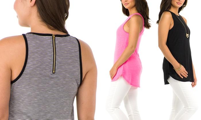 Sociology Women's Zipper Back Swing Tank   Groupon Exclusive