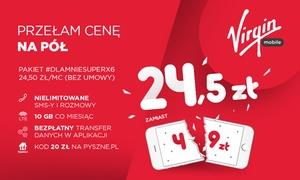 Virgin Mobile: 5 zł za groupon uprawniający do 50% zniżki na pakiet w Virgin Mobile przez 6 miesięcy oraz bon 20 zł na Pyszne.pl