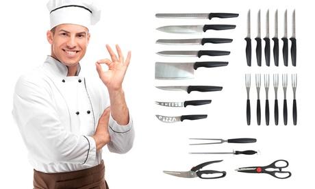 Cubertería de carne Silvano con 6 servicios antibacterianos y juego utensilios