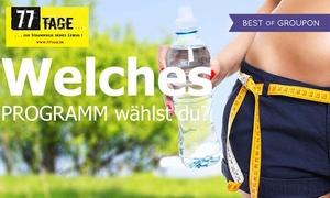 77 Tage: 77 Tage Abnehm-Programm für zu Hause und im Fitness-Studio inkl. Ernährungsumstellung (50% sparen)