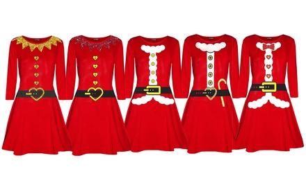 Christmas Santa Flared Swing Dress