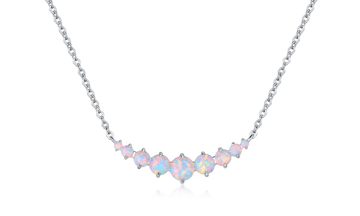 Graduated white fire opal necklace in 18k white gold plating groupon graduated white fire opal necklace in 18k white gold plating aloadofball Choice Image