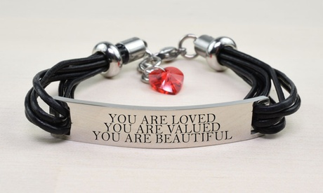 Genuine Leather Inspirational Bracelet with Crystals from Swarovski with Free Leather Heart Charm Bracelet by Pink Box
