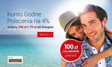 5 zł: Konto Godne Polecenia w BZ WBK z premią gwarantowaną 100 zł i doładowaniem w wysokości 70 zł na Groupon.pl