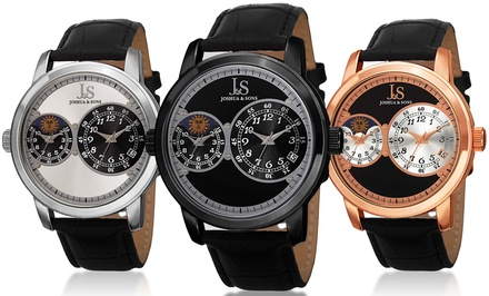 Joshua & Sons Men's Dual-Time Watches with Leather Straps