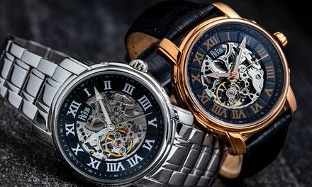 Reloj automático Reign con mecanismo visible con correa de cuero o acero