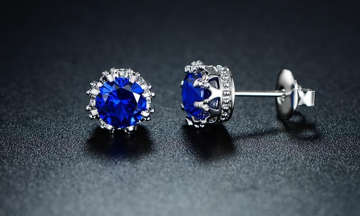 Sapphire Spinel Crown Stud Earrings