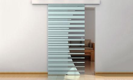 90 oder 105 cm breite Glas-Schiebetür mit Streifen-Design und Muschelgriff (Frankfurt)