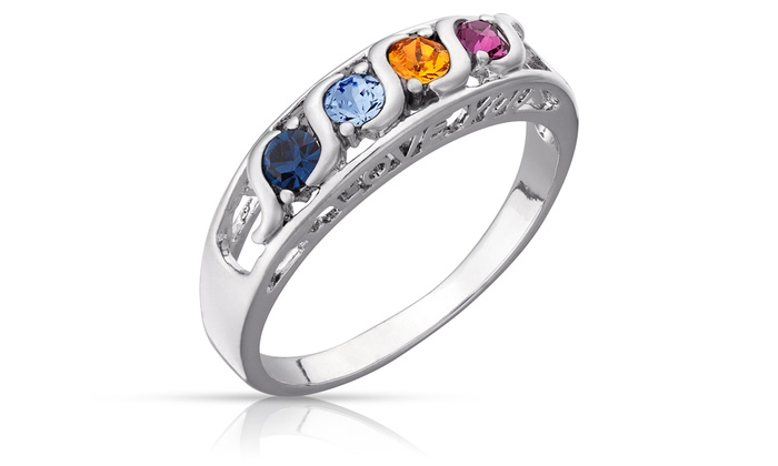 Limogès Jewelry: $16.99 for a Platinum-Plated S-Curve Family-Birthstone Ring with I Love You Setting from Limogès Jewelry ($29.99 Value)