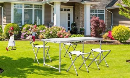 Set di tavolo e sgabelli pieghevoli in alluminio e impermiabili