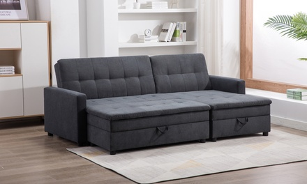 Noa Fabric Left Facing Storage Sectional Sleeper Sofa with Ottoman