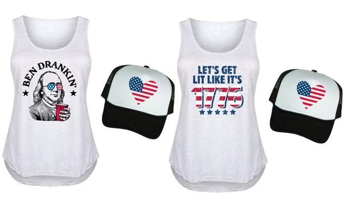 452cae5c303 Women s Essential 4th of July Tank   Hat Set. Plus Sizes Available. X-Large  (10-12)
